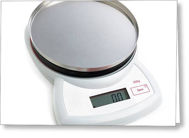 Electronic Weighing Scales Greeting Card by Science Photo Library