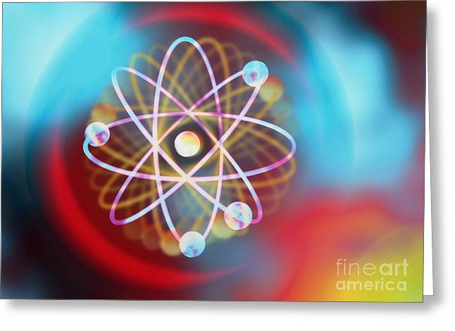 Electrons Orbiting Greeting Card by M Kulyk SPL