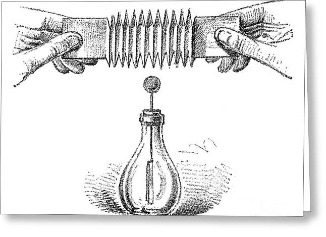 Annual Volume Greeting Cards - Electroscope Experiment, 19th Century Greeting Card by Spl