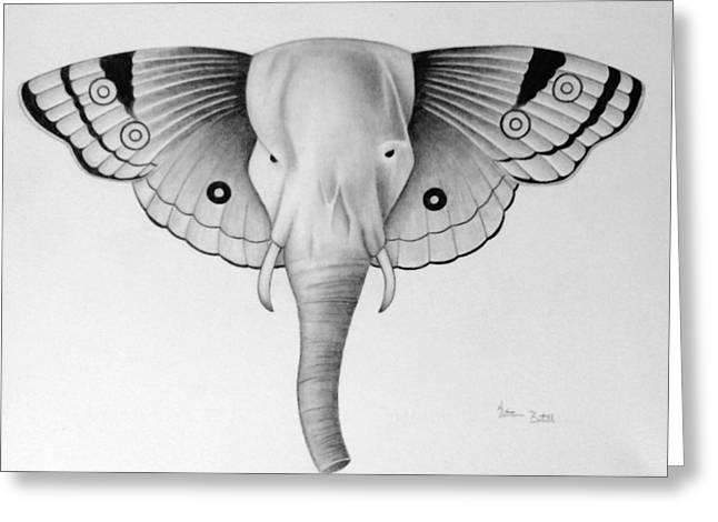 Morphed Drawings Greeting Cards - Elefly Greeting Card by Katrina Botell