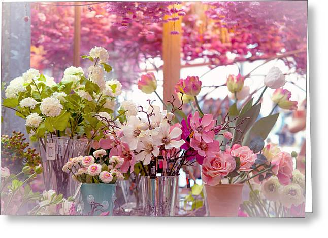 Floating Flowers Greeting Cards - Elegance 1. Amsterdam Flower Market Greeting Card by Jenny Rainbow