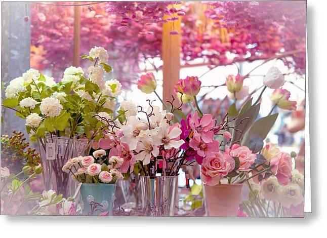 Flower Design Greeting Cards - Elegance 1. Amsterdam Flower Market Greeting Card by Jenny Rainbow