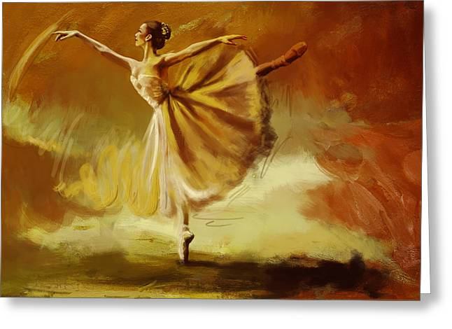 Ballet Dancers Paintings Greeting Cards - Elegance  Greeting Card by Corporate Art Task Force
