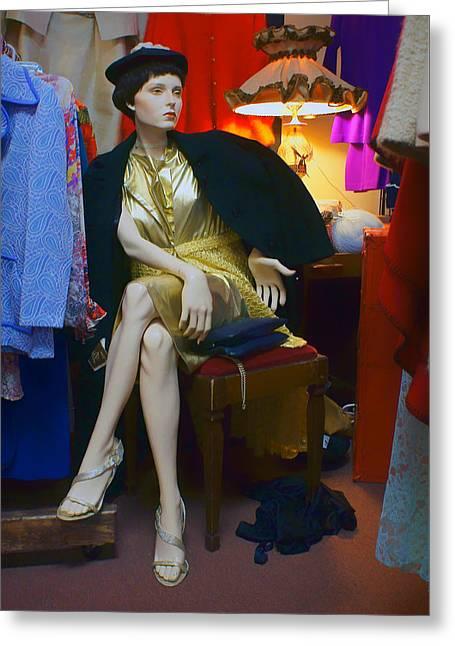 Elegance - Retro Mannequin Greeting Card by Nikolyn McDonald