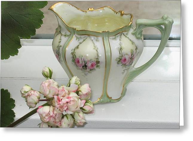 Old Pitcher Greeting Cards - Elegant Antique Pitcher Greeting Card by Pat Yager