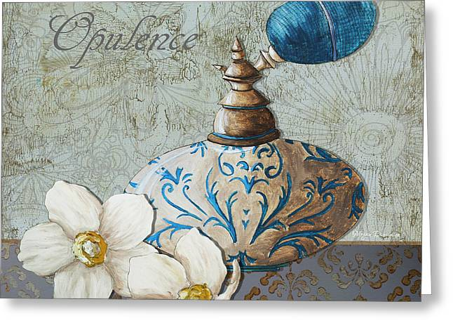 Licensor Greeting Cards - Elegant Decorative Bath Bathroom Art Flower Perfume Bottle Painting OPULENCE Greeting Card by Megan Duncanson