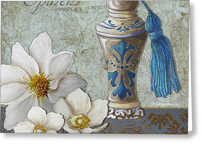 Licensor Greeting Cards - Elegant Decorative Bath Bathroom Art Flower Perfume Bottle Painting OPULENCT Greeting Card by Megan Duncanson