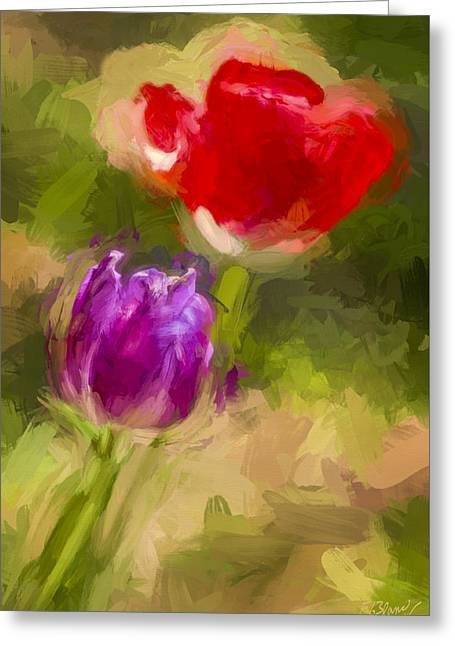 Nature Abstract Greeting Cards - Elegant Display - Painting Greeting Card by F Leblanc