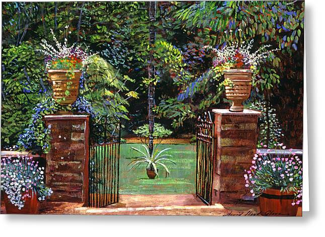 Elegant English Garden Greeting Card by David Lloyd Glover