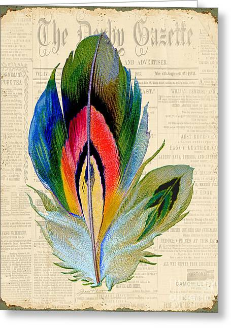 Nature Study Greeting Cards - Elegant Feather-B Greeting Card by Jean Plout