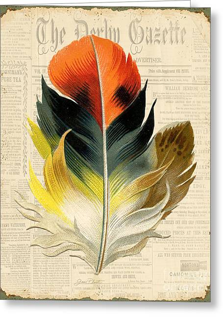 Nature Study Digital Greeting Cards - Elegant Feather-C Greeting Card by Jean Plout