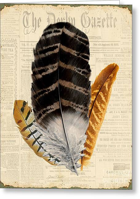 Nature Study Greeting Cards - Elegant Feather-D Greeting Card by Jean Plout
