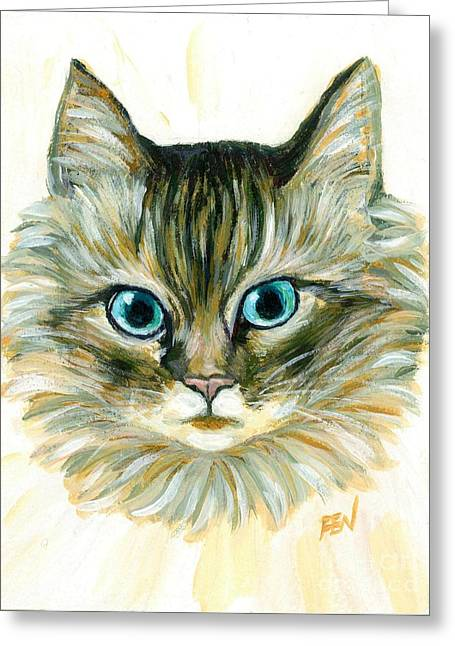 Cat Art Greeting Cards - Elegant Furry Cat With Sharp Blue Eyes Greeting Card by Jingfen Hwu