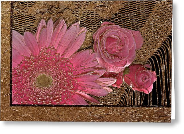 Elegant Gold Lace Greeting Card by Phyllis Denton
