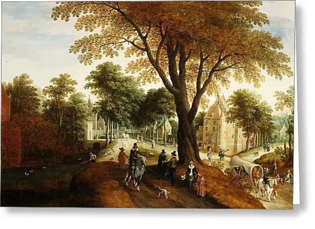 Horse And Cart Greeting Cards - Elegant Horsemen And Figures On A Path In Front Of A Chateau Greeting Card by Sebastian Vrancx