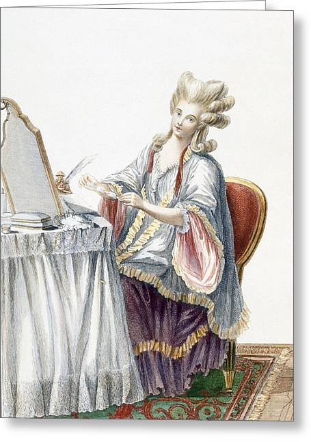 Hairstyle Greeting Cards - Elegant Lady At Her Dressing Table Greeting Card by Pierre Thomas Le Clerc