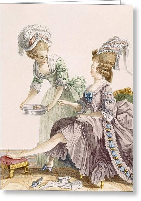 Burgundy Drawings Greeting Cards - Elegant Lady Having Her Feet Washed Greeting Card by Pierre Thomas Le Clerc