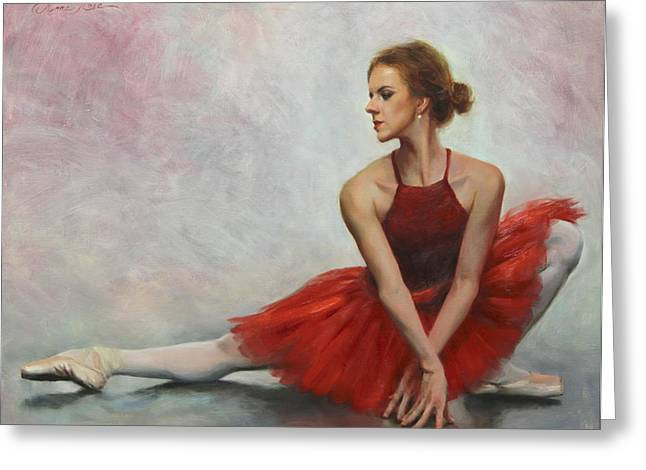 Ballet Art Greeting Cards - Elegant Lines Greeting Card by Anna Bain