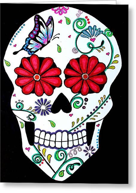 Recently Sold -  - Tattoo Flash Greeting Cards - Elegant Muerte Greeting Card by Brandy Nicole Clark