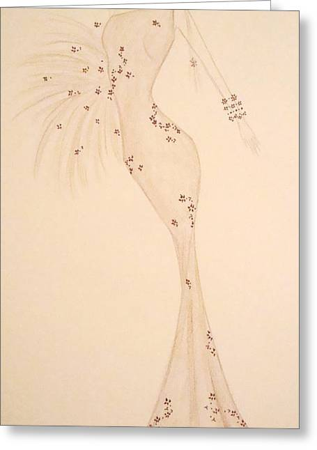 Evening Dress Drawings Greeting Cards - Elegant Neutrals Greeting Card by Christine Corretti