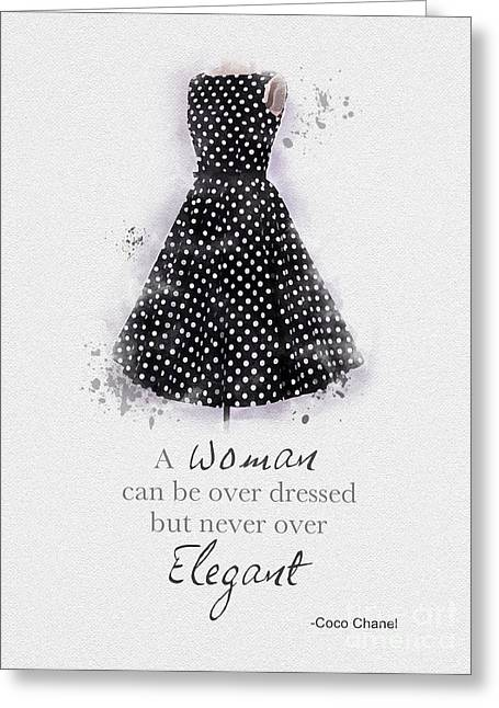 Black Dress Greeting Cards - Elegant Greeting Card by Rebecca Jenkins