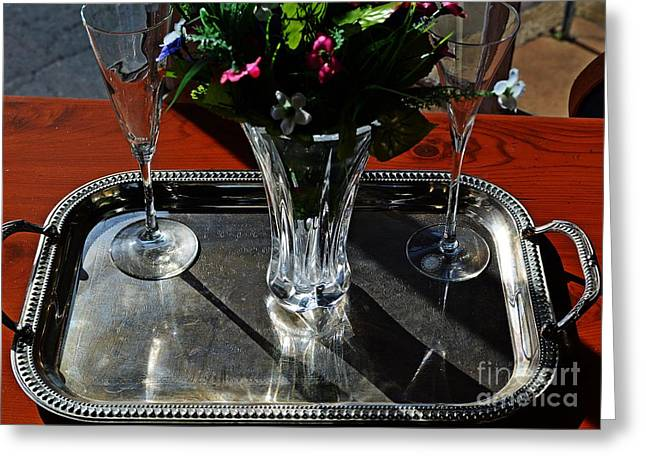Wine Service Photographs Greeting Cards - Elegant Service  Greeting Card by JW Hanley