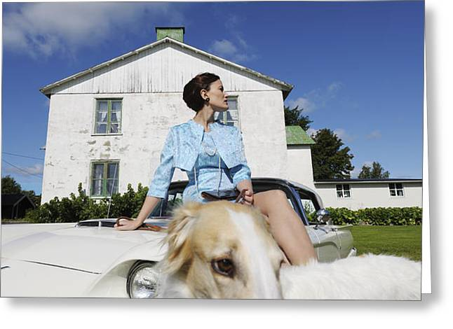 elegant woman and borzoi dog Greeting Card by Christian Lagereek