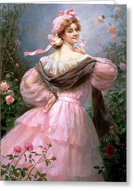 Elegant Woman In A Rose Garden Greeting Card by Felix Hippolyte-Lucas