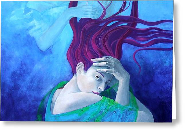 Blue And Purple Sea Greeting Cards - Elegy Greeting Card by Dorina  Costras