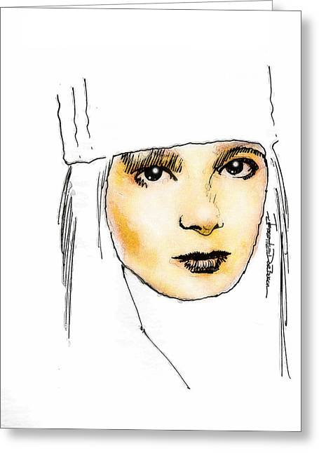 Olive Oil Drawings Greeting Cards - Elektra Natchios Greeting Card by Jerrett Dornbusch