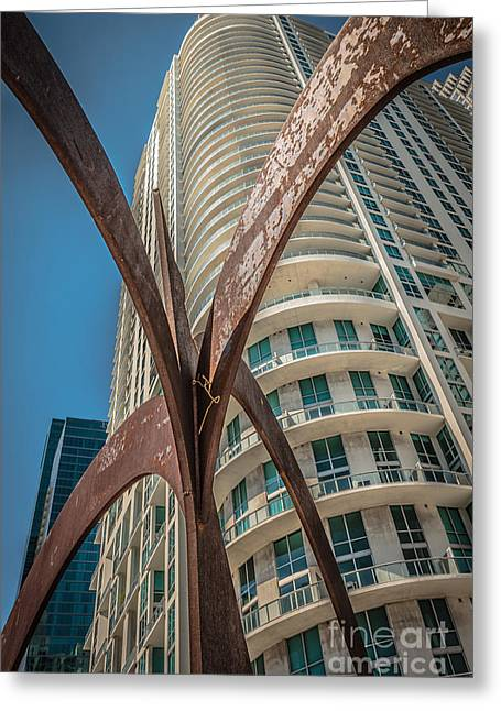Owner Greeting Cards - Element of Duenos do los Estrellas statue with Miami downtown in background  Greeting Card by Ian Monk