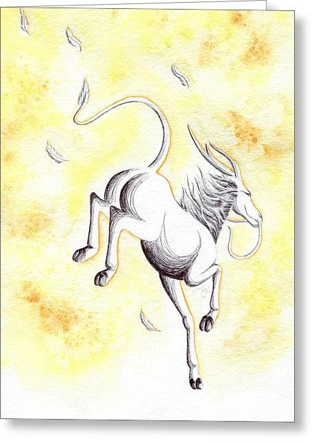 Classical Gold Mixed Media Greeting Cards - Elemental Air Qilin Greeting Card by Anila Tac