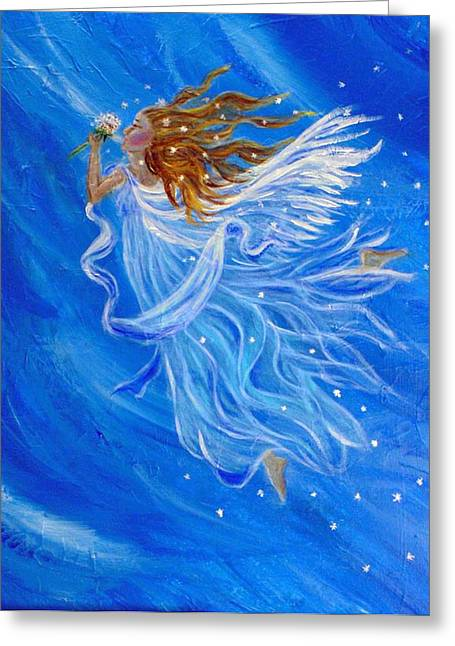 Charlotte Phillips Greeting Cards - Elemental Earth Angel Of Wind Greeting Card by The Art With A Heart By Charlotte Phillips