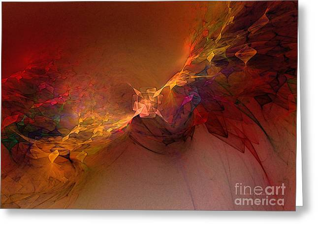 Large Sized Greeting Cards - Elemental Force-Abstract Art Greeting Card by Karin Kuhlmann