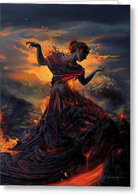 Woman Canvas Greeting Cards - Elements - Fire Greeting Card by Cassiopeia Art