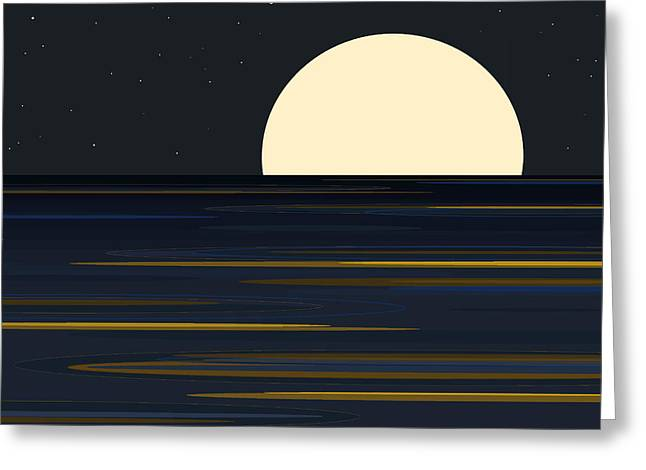 Moonlit Night Greeting Cards - Elements Greeting Card by Val Arie