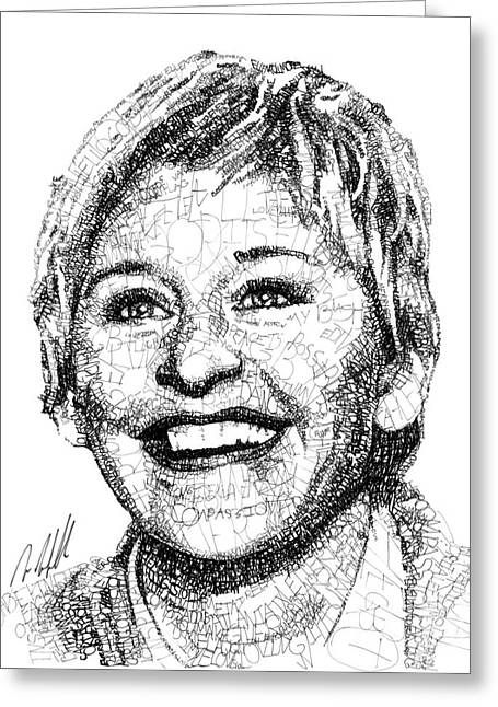 Michael Portrait Drawings Greeting Cards - Ellen Degeneres Greeting Card by Michael  Volpicelli