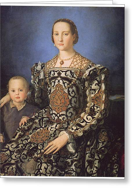Bronzino Agnolo Greeting Cards - Eleonora ad Toledo Grand Duchess of Tuscany Greeting Card by Agnolo Bronzino