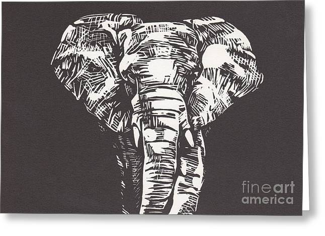 Best Sellers -  - Lino Greeting Cards - Elephant Greeting Card by Alexis Sobecky
