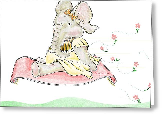 Flower Pink Fairy Child Greeting Cards - Elephant and the Flying Rug Greeting Card by Steel Goddess