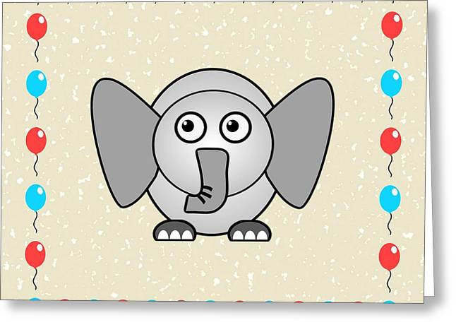 Cute Mixed Media Greeting Cards - Elephant - Animals - Art for Kids Greeting Card by Anastasiya Malakhova