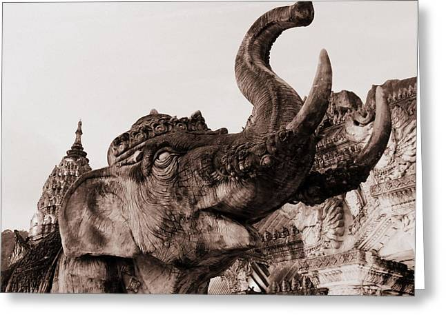 Elephant Architecture Greeting Card by Ramona Johnston