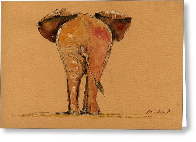 African Elephants Greeting Cards - Elephant back Greeting Card by Juan  Bosco