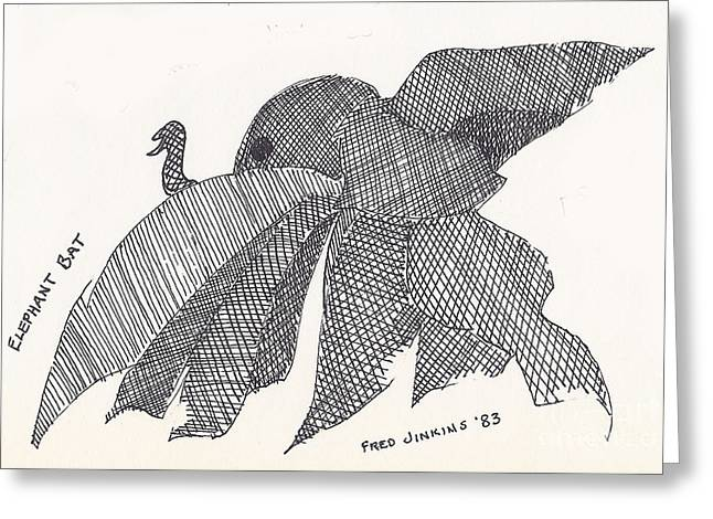 Ink Drawing Greeting Cards - Elephant Bat Greeting Card by Fred Jinkins