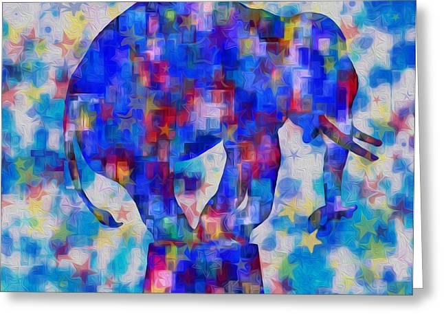 Elephant Blues Greeting Card by Jack Zulli