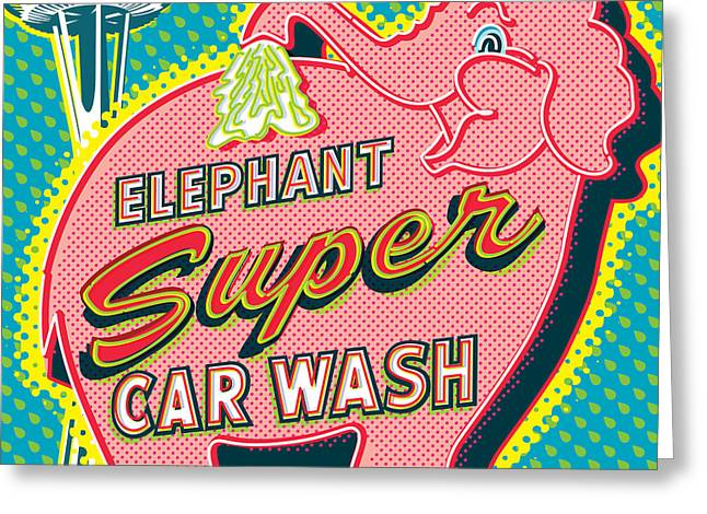 Space Needle Greeting Cards - Elephant Car Wash and Space Needle - Seattle Greeting Card by Jim Zahniser