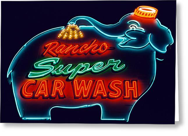 Nostalgic Sign Greeting Cards - Elephant Car Wash Rancho Mirage California Greeting Card by Matthew Bamberg
