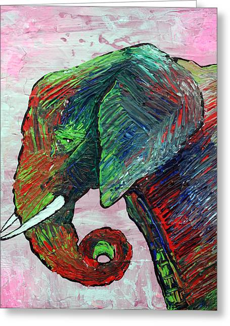 Asian Wildlife Greeting Cards - Elephant Colors Greeting Card by Laura Barbosa