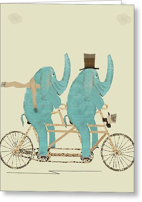 Childrens Poster Greeting Cards - Elephant Days Lets Tandem Greeting Card by Bri Buckley
