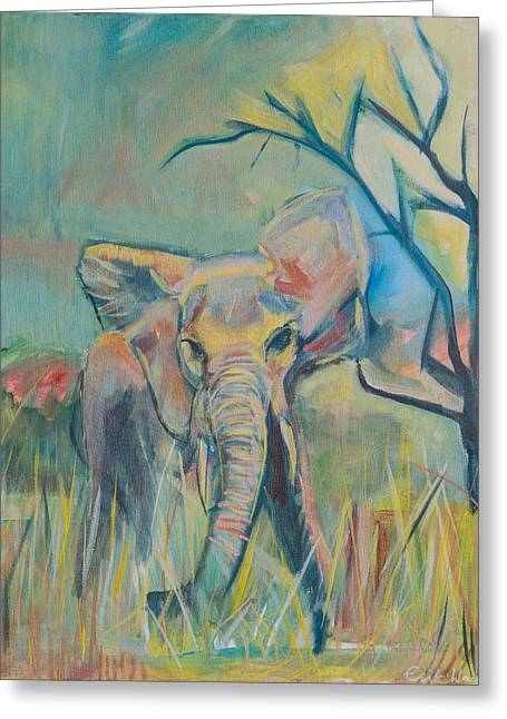 Chromatic Paintings Greeting Cards - Elephant Greeting Card by Erik Warn